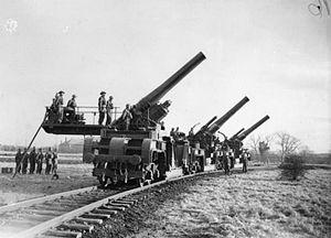 Railway gun - British 12-inch howitzers on top-carriage traversing mounts, traversed 90°, Catterick, December 1940
