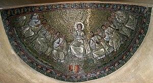 Basilica of San Lorenzo, Milan - Image: 1398 Milano S. Lorenzo Cappella S. Aquilino Traditio Legis Dall'Orto 18 May 2007