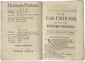 Mary Pix - The Dramatis personae from a 1699 edition of Pix's The False Friend.