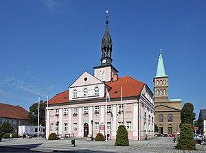 Międzyrzecz - Town hall and St. Adalbert Church