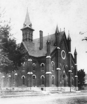 "Plymouth Congregational Church (Lawrence, Kansas) - ""The Brick Church"" shortly after being constructed."