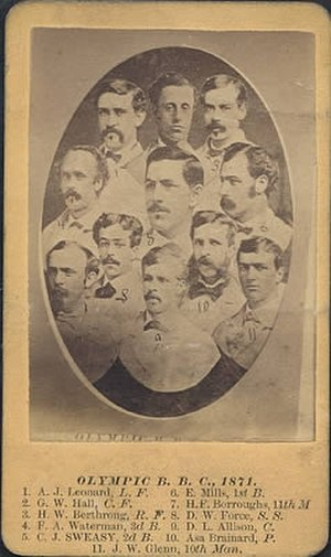 1871 Washington Olympics season - Cabinet card of the 1871 Washington Olympics