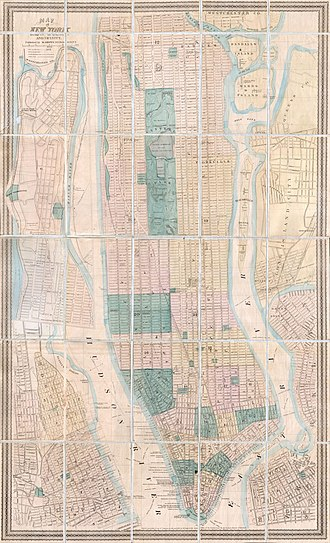 Church Street (Manhattan) - Image: 1873 Dripps Pocket Map of New York City, Brooklyn and Hoboken Geographicus NYC dripps 1873