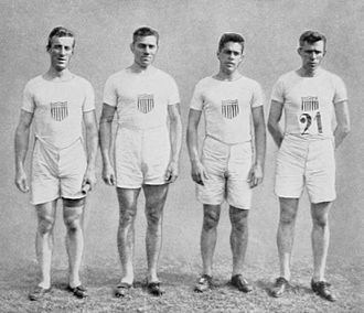 Athletics at the 1912 Summer Olympics – Men's 4 × 400 metres relay - The winning American relay team.