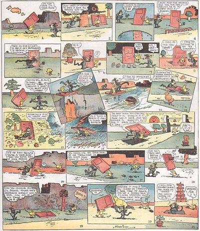 cartoon page of Krazy Kat as Krazy tries to understand why Door Mouse is carrying a door from January 21, 1922