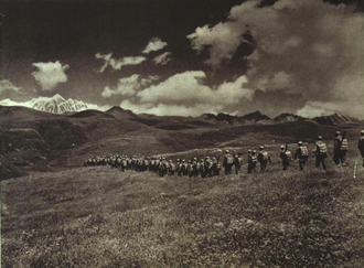 Incorporation of Tibet into the People's Republic of China - PLA soldiers marching toward Tibet in 1950