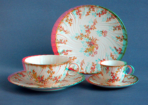 19th century tea- and coffee-cups anaglyph