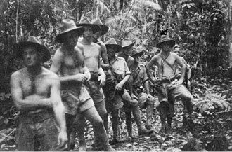 2/5th Commando Squadron (Australia) - A section of 'C' platoon, 2/5th Independent Company, on an exercise walk along a jungle track, west of Bulwa in the Bulolo Valley.