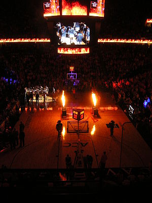 John Paul Jones Arena - JPJ has a fire display when announcing the UVA starters