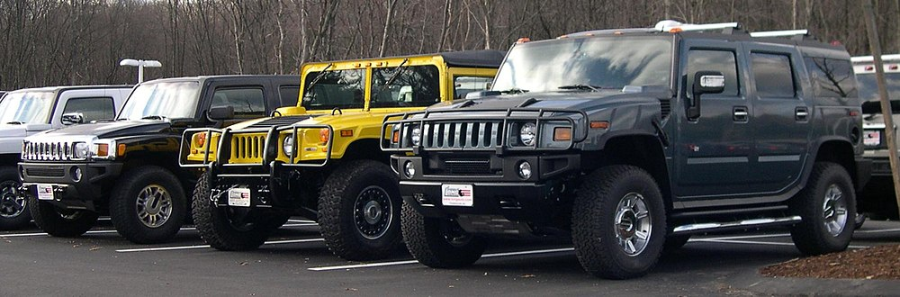 From left: Hummer H3, H1, and H2