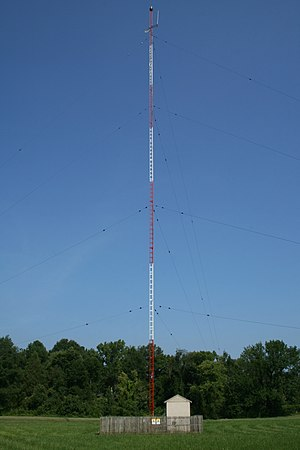 Medium frequency - Mast radiator of a commercial MF AM broadcasting station, Chapel Hill, North Carolina, USA