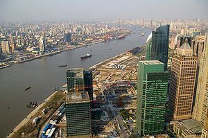 Huangpu River - A view of the Huangpu River as it flows through downtown Shanghai.
