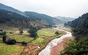 Chaloem Phra Kiat District, Nan - The Nan River in Chaloem Phra Kiat District, very near to its source, is barely more than a stream during the dry season