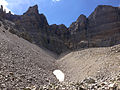 2014-09-15 11 51 19 View up the Glacier Trail towards a patch of old snow and Wheeler Peak in Great Basin National Park, Nevada.JPG