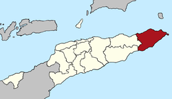 Map of East Timor highlighting Lautém District