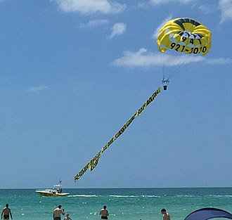 Parasailing - Banner towing by parasailing at Crescent Beach on Siesta Key