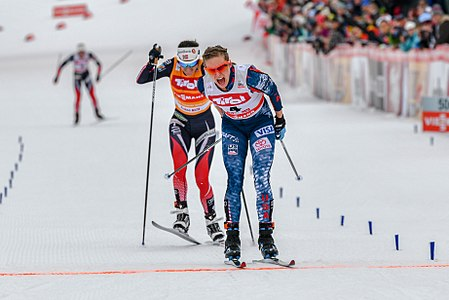 20180128 FIS CC World Cup Seefeld Diggins winning 850 3329.jpg