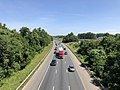 2019-06-24 11 10 04 View north along the southbound lanes of Interstate 95 and U.S. Route 17 from the overpass for Cowan Boulevard in Fredericksburg, Virginia.jpg