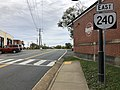 2019-10-25 15 37 15 View east along Virginia State Route 240 (Three Notch'd Road) just east of Crozet Avenue (Virginia State Route 810) in Crozet, Albemarle County, Virginia.jpg