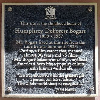 Humphrey Bogart - Birthplace plaque