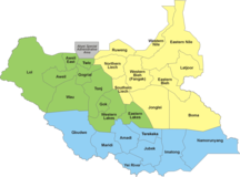 Южный Судан-Административное деление-28 States of South Sudan within regions
