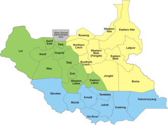States of South Sudan - Image: 28 States of South Sudan within regions