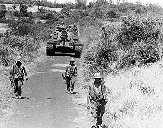 Operation Kingfisher - 3/4 Marines patrol with a 3rd Tank Battalion M48, 29 July 1967
