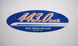 300X - 443.0 km/h speed record sticker on car 955-6