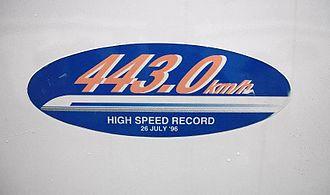 300X - 443.0 km/h speed record sticker on car 955-6
