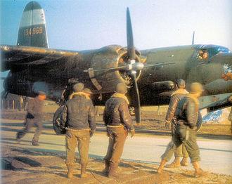 19th Air Division - 323d Bomb Group airmen attend to a Martin B-26C