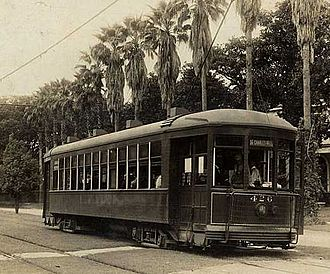 St. Charles Streetcar Line - A 400 Series streetcar operating on the St. Charles Avenue line, 1910s.