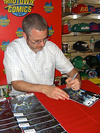 X-O Manowar - Writer Robert Venditti signing copies of Valiant Entertainment's debut issue of the series at a May 2, 2012 signing at Midtown Comics in Manhattan
