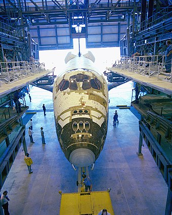 Columbia in the Orbiter Processing Facility after delivery to Kennedy Space Center in 1979. About 8 thousand of 30,000 tiles still had to be installed. 566175main columbia-opf.jpg