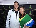 5 FM Hollywood Reporter Jen Su with Olympic Gold Medalist Chad Le Clos (7793425020).jpg