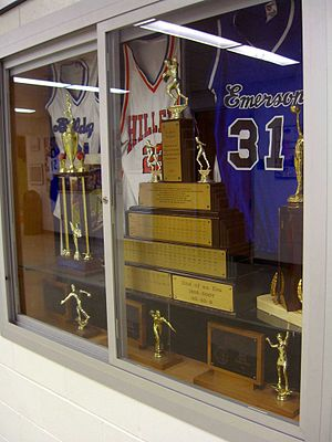 Emerson High School (Union City, New Jersey) - The Alumni Trophy, which was awarded to the victor of the annual Turkey Game, now sits in Union City High School. On the lower right of the trophy is the inscription:End of an Era 1919 - 2007 40-40-9.