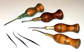 Stitching awl tool for making or enlarging holes in fabric or leather