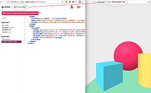 A-Frame (virtual reality framework) - A-Frame hello world on the Glitch platform, no installation required to have live reloading and published on all WebVR platform via a simple link