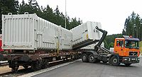 Moving a container from road to rail transportation