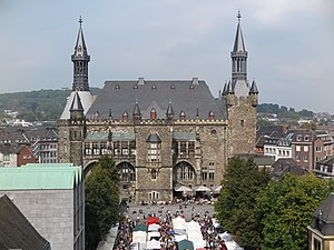Aachen Rathaus - The Aachen City Hall seen from the cathedral
