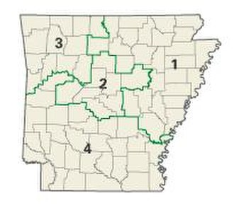 Politics and government of Arkansas - Map of Arkansas showing all four congressional districts