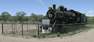 A 1902 Baldwin locomotive of 2-6-2 type used on the Atchison, Topeka and Santa Fe Railway in New Mexico where it is now on permanent display in Las Vegas, New Mexico. ATSF engine no. 1129.jpg
