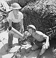 A 4.2-inch mortar of 1st Infantry Brigade's support group, firing in support of the 5th Northamptonshire Regiment in the Anzio bridgehead, Italy, 18 May 1944. NA15216.jpg