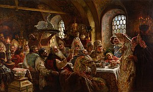 Wedding reception - Wedding reception in 17th century Russia by Konstantin Makovsky