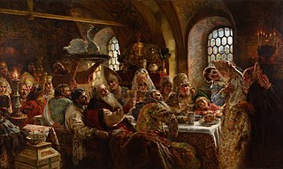 <i>A Boyar Wedding Feast</i> painting by Konstantin Makovsky