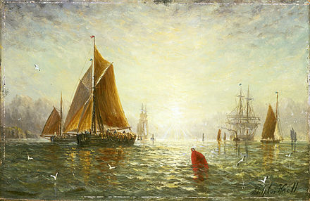 Painting of A Brixham trawler by William Adolphus Knell. The painting is now in the National Maritime Museum. A Brixham trawler.jpg