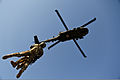 A coalition forces flight medic and an Afghan National Army (ANA) commando with the 2nd Company, 1st Special Operations Kandak are hoisted to a U.S. Army UH-60 Black Hawk helicopter during extraction training 130304-A-IS772-0759.jpg