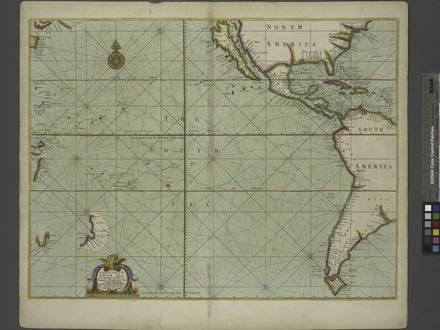 Map of the Pacific Ocean during European Exploration, circa 1702-1707. A generall chart of the South Sea ... NYPL481132.tiff