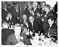 A group of men including Mayor John F. Collins, Member of the Massachusetts House of Representatives William Bulger, and United States Senator Ted Kennedy listen to United States Senator Leverett Saltonstall speak (12306411013).jpg