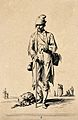 A man carrying a basket and stick with a dog at his feet. Et Wellcome V0020412ER.jpg