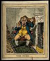 A man suddenly awakened by two squalling cats. Coloured etch Wellcome V0010879.jpg